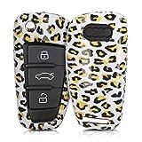kwmobile Funda Compatible con Audi Llave de Coche Plegable de 3 Botones - Carcasa Dura para Llave de Coche Mando de Auto - Leopardo Negro/Amarillo/Blanco