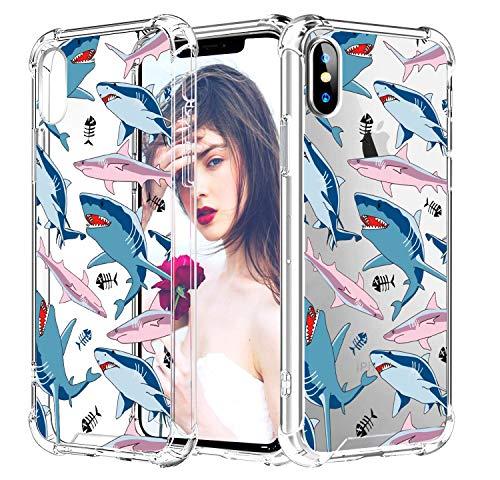 CREFORKIAL Cute Shark Phone Case for iPhone SE 2020/7 / 8, Cases Clear with Design Slim Soft TPU [ Back Case + Corner Reinforced Shockproof + Bumper Protective ], Transparent Cover