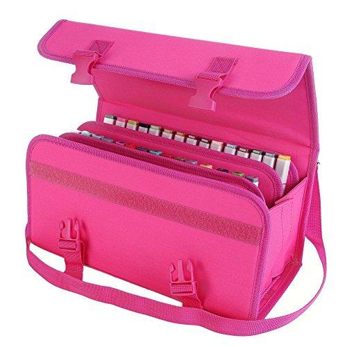Elonglin Marker Pen Case 80/120 Slots Markers Carrying Bag Holder for Primascolor Marker and Copic Sketch Marker Paint Marker Dry Erase Marker Lipstick Organizer 120 Slots Red Rose
