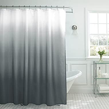 Natural Home Ombre Textured Shower Curtain with Beaded Rings, Dark Grey