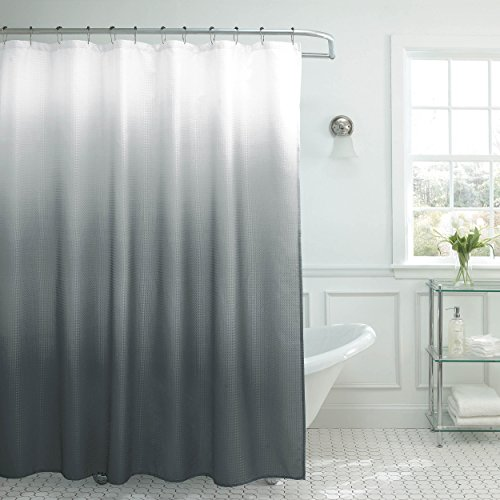 Creative Home Ideas Ombre Shower Curtain Set, 70'x72', Dark Grey