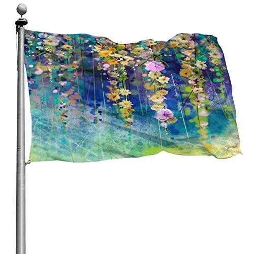 Pintura de acuarela Bandera de flores de primavera 4 x 6 pies Bandera de poliéster cosida grande Bandera estándar colgante exterior para patio Jardín Césped Vacaciones