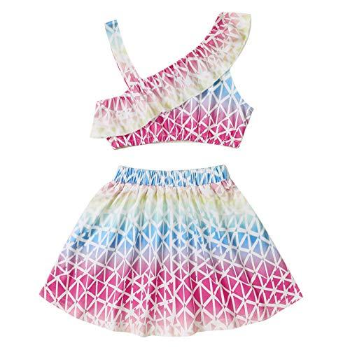 2021 Maluch dzieci dziewczynki lato tęcza pochyłe ramiona topy + spódnice zestaw odzieży