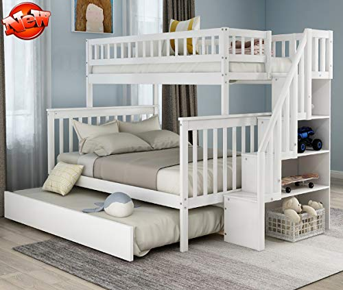 Lowest Price! LEEXCCOS Stronger Twin Over Full Bunk Bed with Trundle for Kids, Luxurious Solid Wood ...