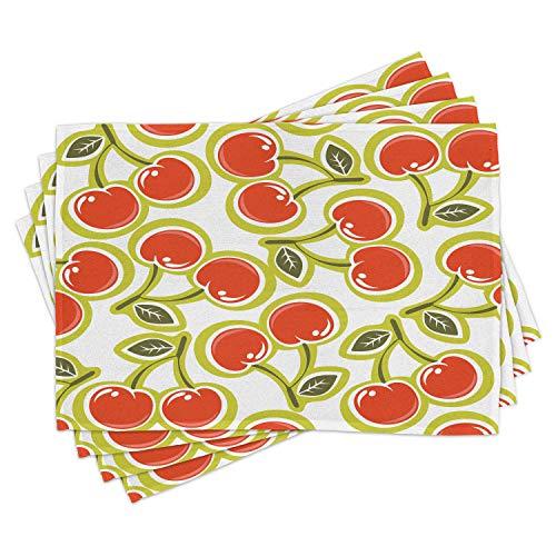 ABAKUHAUS Fruit Lot de Sets de Table en 4 pièces, Motif Cerise et Feuilles, Tissu Lavable pour Salle à Manger et Cuisine, 30 cm x 45 cm, Pomme Verte Rouge Blanc