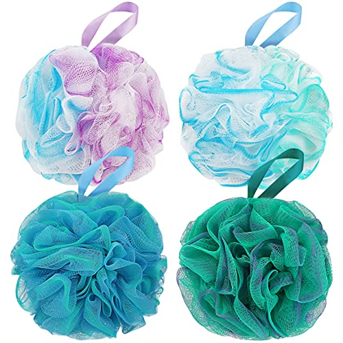 DadyMart Bath Shower Loofah Sponge 60g Bath Mesh Pouf Shower Ball Body Scrubber Exfoliating Bath Sponge for Women and Men, Set of 4, Flower Color