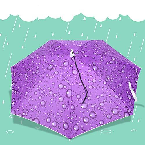 LZKW Sonnenschirm Top Sonnenhut, Angelkappe Sonnenschutz Faltbarer Regenschirmhut, für Erwachsene Patio Teens Outdoor(Raindrop Purple)