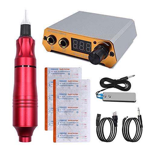Biomaser CTG003 Tattoo Machine Dispositivo Rotatorio Profesional para Tatuaje 4.5W Potente Moter Tattoo Pen Machine Rotary Device Supplies Con Fuente de Alimentación (Rojo)