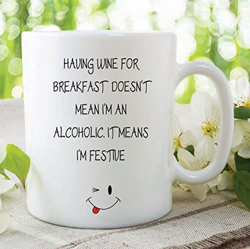 Taza divertida y novedosa de vino para el desayuno, alcohol, regalo festivo...