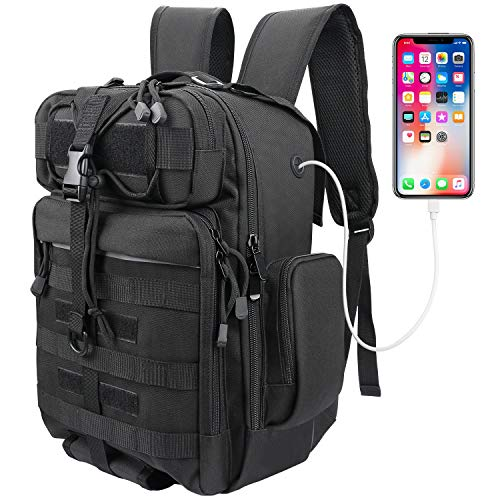 XAegis Tactical Backpack Military EDC Bug Out Bag Molle Pack, Outdoor Fishing Backpack, Small Rucksack - Black