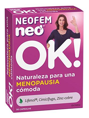 NEO   Neofem Complemento Alimenticio para Mujeres a Base de Lifenol Zinc + Cobre   Ayuda a Sobrellevar los Síntomas de la Menopausia 30 Cápsulas   Tomar 1 Cápsula al día
