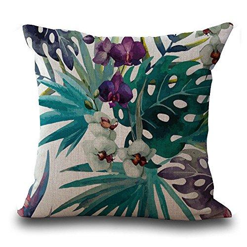 ZOUMOOL_ Pillow Cases Funda de cojín, diseño de Flores Tropicales, 45 x 45 cm