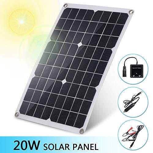 pedkit Solarpanel Kit Monokristallines Solarpanel 20W, Solarpanel Flexibel Outdoor 20W, Solarladegerät für Handy, 2-Port USB Hub Autoladekabel Krokodilclip, für Auto Feuerzeug RV Telefon Kamera