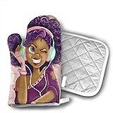 Wu - Juego de manopla y soporte para ollas, resistente al calor, antideslizante, para barbacoa, hornear, asar, chica afroamericana, chica africana y amor, música
