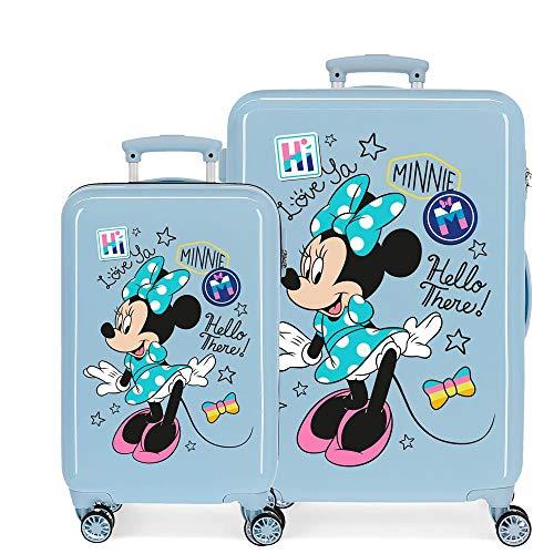 Disney Minnie Destiny Awaits Kofferset Rosa 55/65 cms Hartschalen ABS Kombinationsschloss 93L 4 Doppelräder Handgepäck