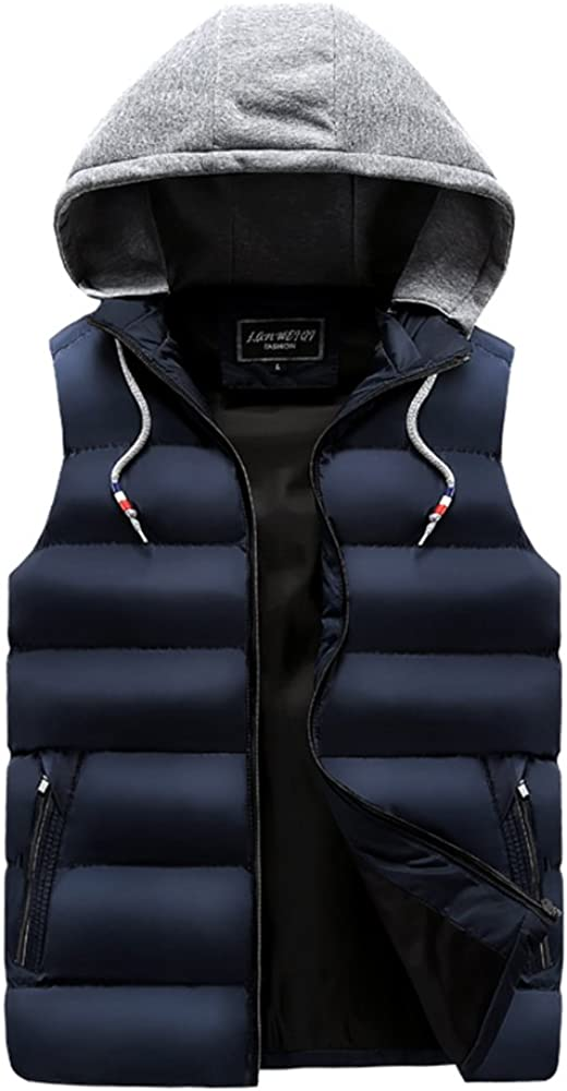Dooping Men's Winter Puffer Vest Removable Hooded Quilted Warm Sleeveless Jacket Gilet (white hate-blue, S/Tag size XL)