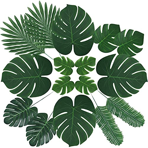 TASJS 60 Pieces Of 6 Kinds Of Monstera Artificial Palm Leaves Tropical Plants Artificial Stems Party Decoration Outdoor Garden Home Furnishing Decoration