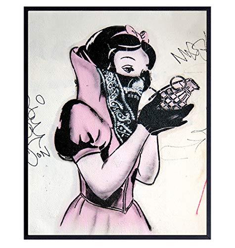 Banksy Poster - 8x10 Funny Disney - Gangster Snow White Hand Grenade - Urban Graffiti Wall Art Decor, Room Decoration for Bedroom, Dorm, Living Room - Gift for Teens, Street Art Fans, Men Women
