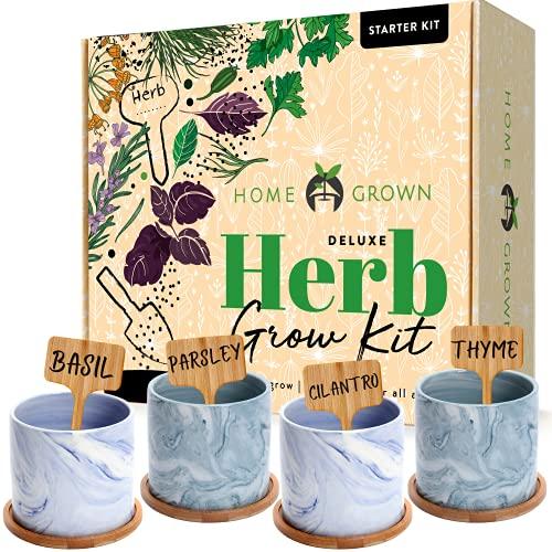 Indoor Herb Garden Starter Kit - Herb Seeds Gardening Kit Planting Pots & Potting Soil - Heirloom & Non GMO - DIY Home Seed Starter Herb Garden Grow Plant Kit (Ceramic Pots)