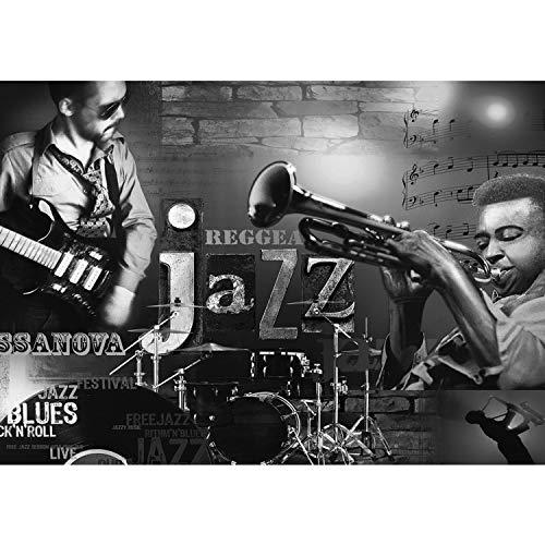 Vlies Fototapete PREMIUM PLUS Wand Foto Tapete Wand Bild Vliestapete - Musik Jazz Reggae Blues Rock'n'Roll Gitarre Noten Schlagzeug - no. 2128, Größe:254x184cm Vlies