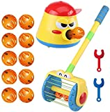 znvwki Electric Push Walker & Whirl Scoop a Ball Launcher Walker Set, Baby Vacuum Cleaner Toy, Kids Pretend Play Electric Vacuum Cleaner Cleaning Tools Toy, Cannon Pot Blowing Bell Ball (C)