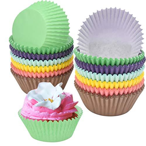 NATUCE 300PCS Papel Cupcakes, Muffin Papel Magdalenas, Capsulas para Magdalenas, Cápsulas Magdalenas en Papél, Papel para Magdalenas, Rainbow Papel para Magdalenas Muffins para Bodas, Cumpleaños