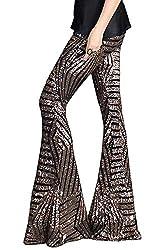 Brown Sequins High Waist Bell Bottom Pants Wide Leg
