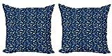 ABAKUHAUS Peces Set de 2 Fundas para Cojín, Siluetas del Acuario, con Estampado en Ambos Lados con Cremallera, 60 cm x 60 cm, Azul Marino Seafoam
