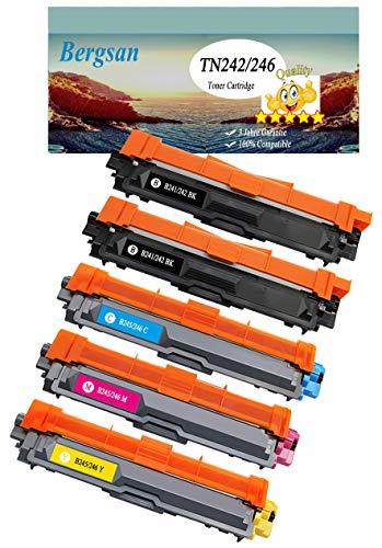 Bergsan 5 Toner XL Kompatibel zu TN-242 TN-246 für Brother DCP-9017CDW DCP-9022CDW MFC-9142CDN MFC-9332CDW MFC-9342CDW HL-3142CW HL-3152CDW HL-3172CDW Ersatz für TN-242BK TN-246C TN-246M TN-246Y