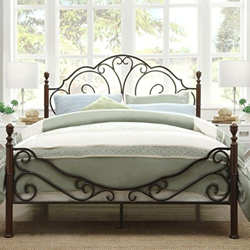LeAnn Graceful Scroll Bronze Iron Full-sized 4 Poster Bed