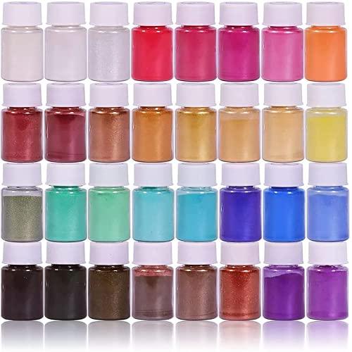DEWEL Pigments Poudre de Mica, 32 Couleurs*5g, Colorant Résine époxy, Poudre Naturelle De Mica pour Bougies, Bombe de Bain, Slime, Maquillage, Vernis à Ongles Essentiels