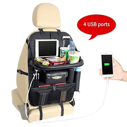 LVYUAN (リョクエン) 車用収納ポケット 最新版 高级 防水 防汚 PU素材 シートバックポケット 多機能 カー後部座席 収納 取り付け 簡単 大容量 - 4個USBポート 携帯電話のIPad mini用 (テーブル付き)