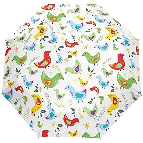 Cute Birds Floral Flowers Auto Open Close Paraguas Anti UV Plegable Compacto Automático Paraguas