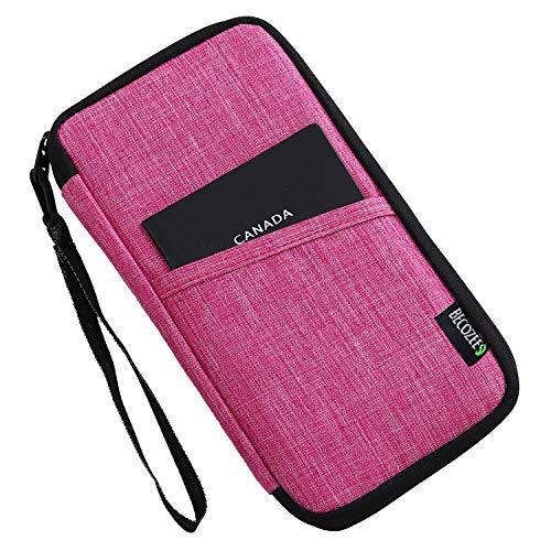 Travel Wallet Passport Holder,BECOZEE Family Passport Pouch with Hand Strap Travel Wallet Organizer Bag Waterproof Document Ticket Holder for Women Rose