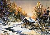 Pintura Al Óleo De Cabina De Nieve Wooden Jigsaw Puzzles Set Juego De Rompecabezas De Relajación La Pared del Hogar Pintura Seguro Y No Tóxico 98 Pcs