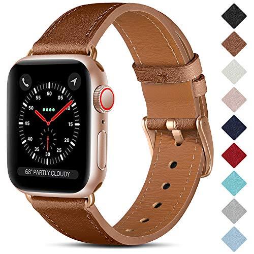 CeMiKa Correa de Cuero Compatible con Apple Watch Correa 38mm 40mm 42mm 44mm, Correas de Repuesto de Cuero Genuino Compatible con iWatch SE/Series 6 5 4 3 2 1, 38mm/40mm, Marrón/Oro Rosa