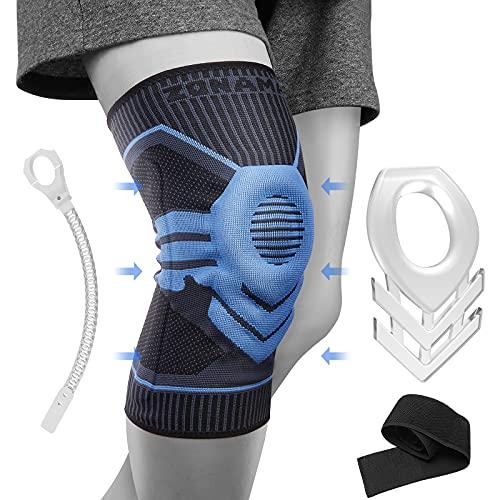 ZONAMA Kniebandage für Männer Damen, Meniskus Kniestütze mit Patella Gel Pads & Seite Stabilisatoren & Klettverschluss, Medical Grade Knie-Pad für Laufen, Meniskusriss, Arthritis,Blue-M