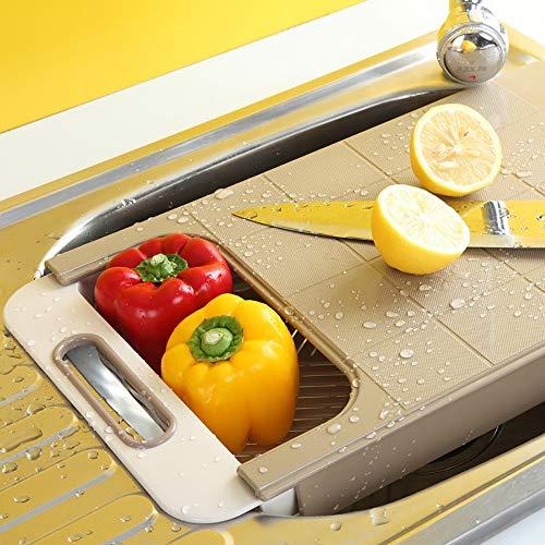 LOVEHOUGE Tapa de la Tabla de Cortar sobre el Fregadero Colador, 2 en 1 Tabla de Cortar Ajustable multifunción, para Vegetales y Frutas (16.5x9.6x3 Pulgadas),2