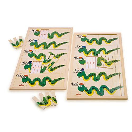 Dida - Dragons Tables - Jeu éducatif Se Compose de Deux Planches de Un à dix et Cent tuiles en Bois pour trouver Le résultat et d'apprendre à Se Multiplier.
