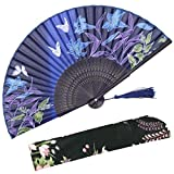 OMyTea Hand Held Silk Folding Fans with Bamboo Frame - with a Fabric Sleeve for Protection for Gifts - 100% Handmade Oriental Chinese/Japanese Vintage Retro Style - for Women Ladys Girls (WZS-10)