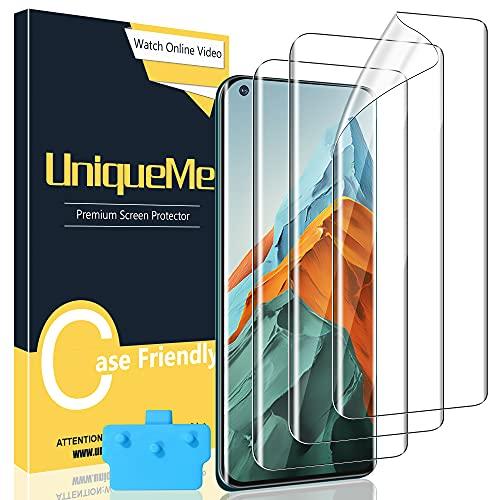[3 Stück] UniqueMe Schutzfolie Kompatibel mit Xiaomi Mi 11 Ultra/Pro, Blasenfreie [Klar HD] Folie TPU Bildschirmschutz Fingerabdruck-ID unterstützen [Soft] Bildschirmfolie