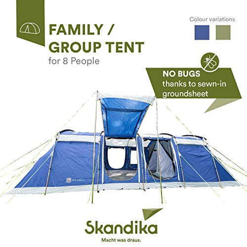 Skandika Montana 8-10 Person/Man Family Group Tunnel Tent with Sun Canopy, 200 cm Peak Height, 5000 mm Water Column, 2-4 Sleeping Cabins (Blue 8 Berth Protect)