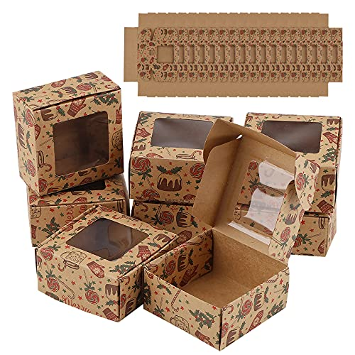 24 piezas Mini cajas de pasteles Cajas Kraft para Tartas con Ventana...