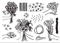 花クリアスタンプ/DIYスクラップブッキング用シール/フォトアルバム装飾用クリアスタンプシートA1839
