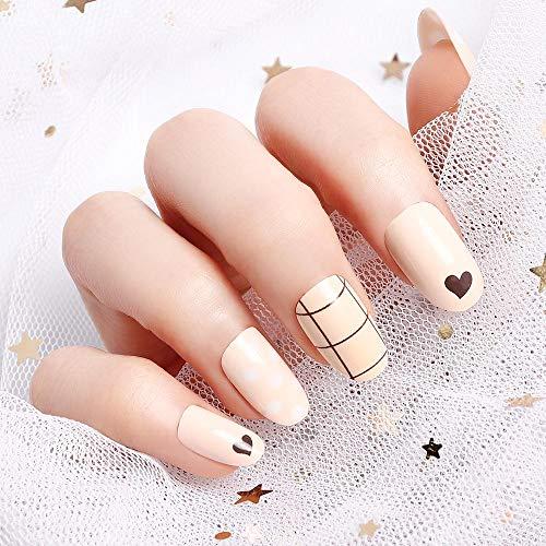 LIARTY 24 stücke Künstliche Falsche Nägel Gitter Braune Nackte Farbe Acryl Full Cover Gefälschte Nägel Tipps Für Mädchen