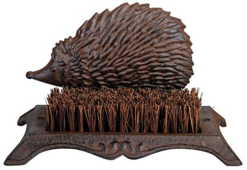 Esschert Design Schuhabstreifer, Fußabtreter Motiv Igel aus Gusseisen mit Bürste, ca. 25 cm x 16 cm x 15 cm