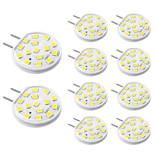 G8 LED Bulbs Dimmable, 30-35W T4 Type Bi-Pin G8 Base Halogen Bulb Replacement, Daylight White 6000K, AC 120V LED Puck Light Bulbs for Under Cabinet Light, Under Counter Kitchen Lighting (10 Pack)