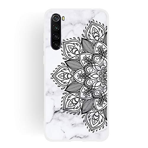 ChoosEU Compatible con Funda Xiaomi Redmi Note 8 Silicona Dibujos Mármol Creativa Carcasas para Chicas Mujer Hombres, TPU Case Antigolpes Bumper Cover Caso Protección - Flor Negra