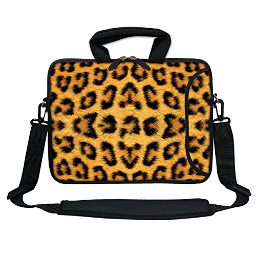 Meffort Inc 11.6 Inch Neoprene Laptop Bag with Extra Side Pocket, Soft Carrying Handle & Removable Shoulder Strap for 10' to 11.6' Size Ultrabook Chromebook (Leopard Print)