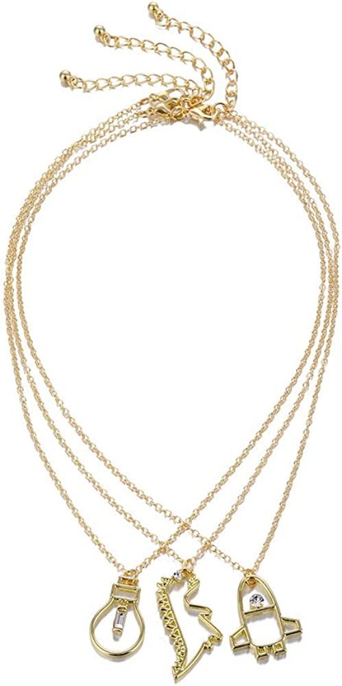 Pingyongchang 3 PCS Cute Gold Plated Geometric Necklace Gold Charm Rhinestone Chokers Dinosaur Rocket Bulb Pendant Best Friend Jewelry Set for Women Girls